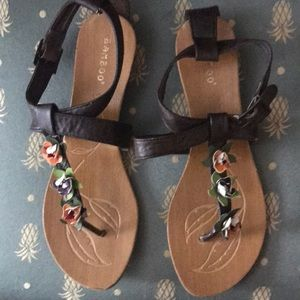 Bamboo Brown Floral Sandals